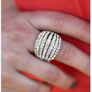 Rhinestone &silver tone adjustable statement ring
